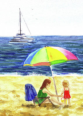 Painting - Colorful Umbrella On The Beach	 by Irina Sztukowski
