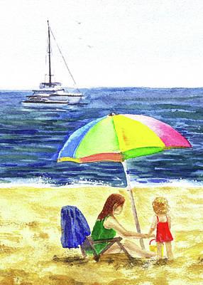 Painting - Colorful Umbrella On The Beach by Irina Sztukowski