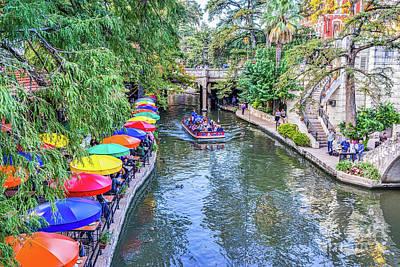 Riverwalk Photograph - Colorful Umbrellas Along Riverwalk by Tod and Cynthia Grubbs