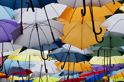 Photograph - Colorful Umbrellas Hanging by Newnow Photography By Vera Cepic