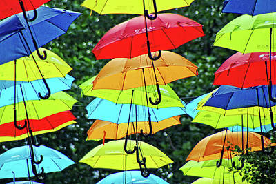 Photograph - Colorful Umbrellas On Textured Background. by Doc Braham