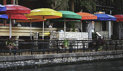 Photograph - Colorful Umbrellas On The Riverwalk by Nadalyn Larsen