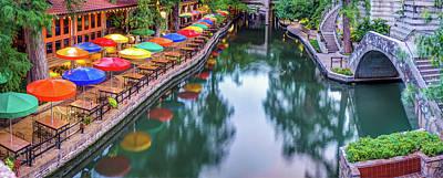 Photograph - Colorful Umbrellas On The San Antonio Riverwalk - Panoramic View by Gregory Ballos