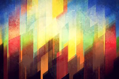 City Sunset Painting - Colorful Urban Design by Thubakabra