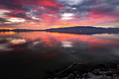Photograph - Colorful Utah Lake Sunset by Wesley Aston