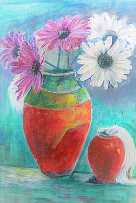 Mixed Media - Colorful Vases And Flowers by Khalid Saeed