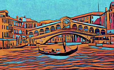 Row Boat Mixed Media - Colorful Venice by Dan Sproul