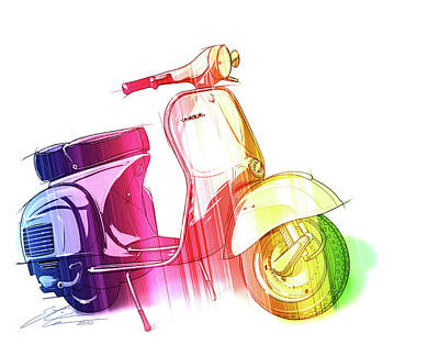 Urban Art Digital Art - Colorful Vespa by Etienne Carignan