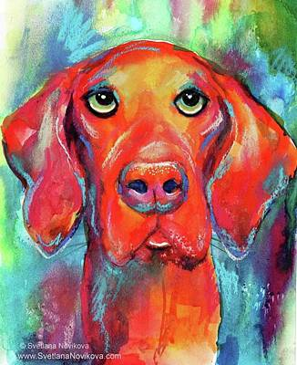 Pets Photograph - Colorful Vista Dog Watercolor And Mixed by Svetlana Novikova