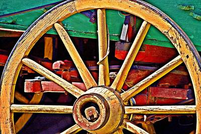Photograph - Colorful Wagon Wheel- Fine Art by KayeCee Spain