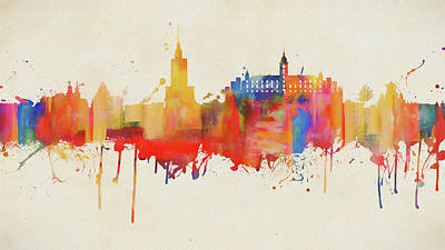 Painting - Colorful Warsaw Skyline by Dan Sproul