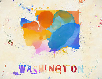 Painting - Colorful Washington State Map by Dan Sproul
