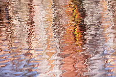 Photograph - Colorful Water Reflections Abstract by Jenny Rainbow