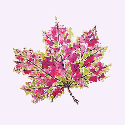 Colorful Watercolor Autumn Leaf Art Print
