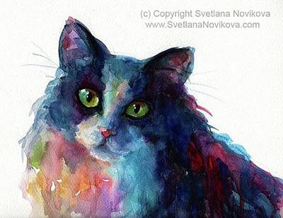 Colorful Watercolor Cat By Svetlana Art Print