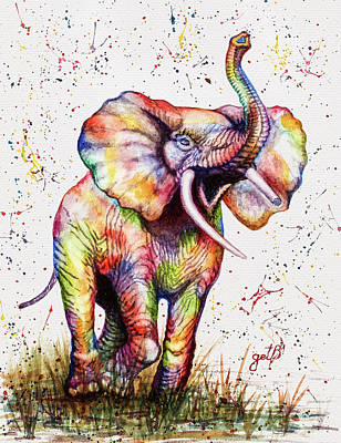 Art Print featuring the painting Colorful Watercolor Elephant by Georgeta Blanaru