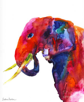 Colorful Watercolor Elephant Art Print