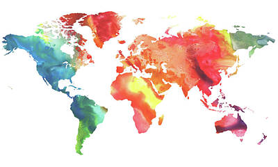 Painting - Colorful Watercolor Map Of The World by Irina Sztukowski