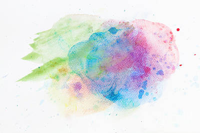 Paper Photograph - Colorful Watercolor Paint On White Canvas. Super High Resolution And Quality by Michal Bednarek
