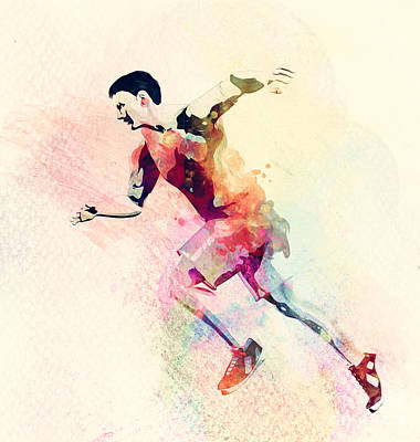 Win Photograph - Colorful Watercolor Painting Of Man Running. Abstract Creative Sport Background by Michal Bednarek