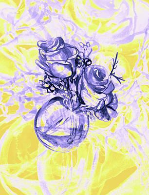 Colorful Watercolor Painting Of Roses In A Terrarium.  Art Print by Oana Unciuleanu