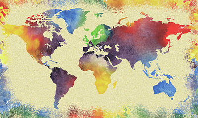 Painting -  Colorful Watercolor World Map by Irina Sztukowski