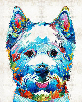 Westie Dog Painting - Colorful West Highland Terrier Dog Art Sharon Cummings by Sharon Cummings