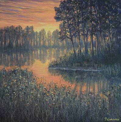 Painting - Colorful Wetland Marsh Sunrise Painting by Amber Palomares