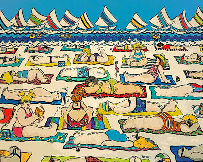 Painting - Colorful Whimsical Beach Seashore Women Men by Rebecca Korpita