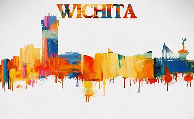 Colorful Wichita Skyline Silhouette Art Print by Dan Sproul