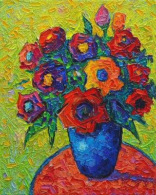 Painting - Colorful Wild Roses 10 Modern Impressionist Impasto Palette Knife Oil Painting By Ana Maria Edulescu by Ana Maria Edulescu