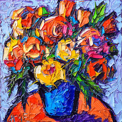 Painting - Colorful Wild Roses Abstract Flowers Modern Impressionist Impasto Oil Painting By Ana Maria Edulescu by Ana Maria Edulescu