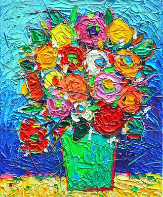 Painting - Colorful Wildflowers Abstract Modern Impressionist Palette Knife Oil Painting By Ana Maria Edulescu  by Ana Maria Edulescu