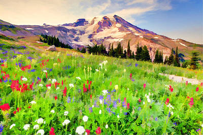 Colorful Wildflowers In National Park Mount Rainier Art Print by Lanjee Chee
