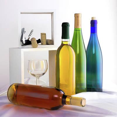 Colorful Wine Bottles Art Print