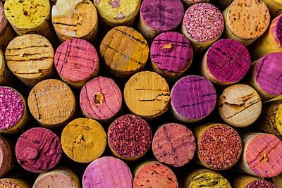 Stopper Photograph - Colorful Wine Corks by Garry Gay