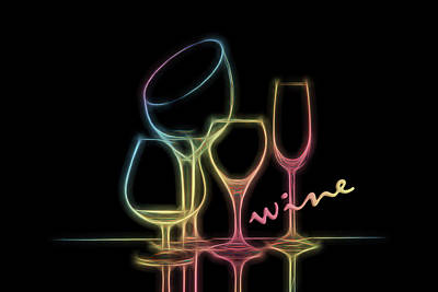 Stem Photograph - Colorful Wineglasses by Tom Mc Nemar