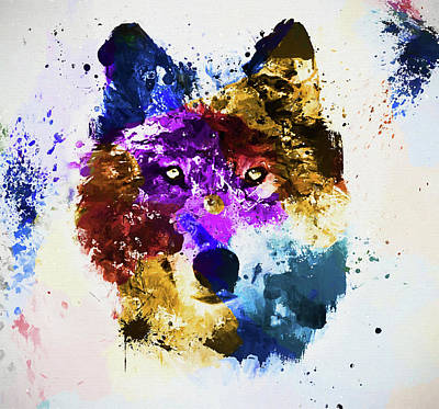 Painting - Colorful Wolf Art by Dan Sproul