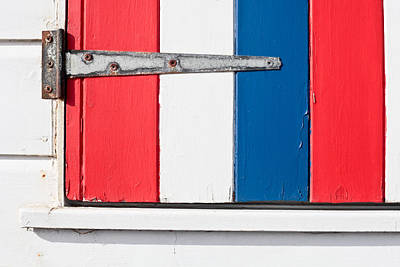 Cabin Wall Photograph - Colorful Wooden Shutter by Tom Gowanlock