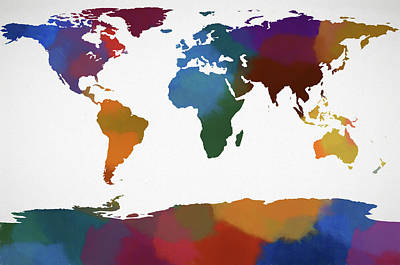 Educating Painting - Colorful World Map by Dan Sproul