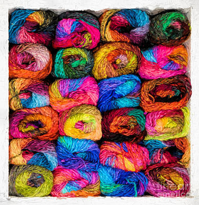 Photograph - Colorful Yarn - Painterly by Les Palenik
