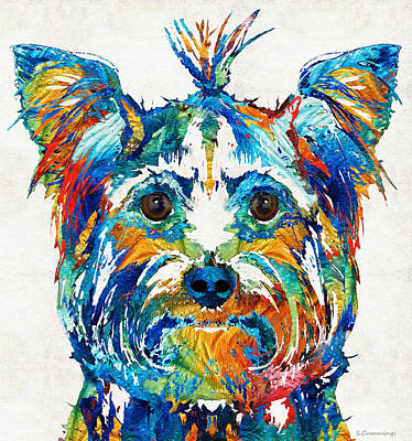 Custom Dog Art Painting - Colorful Yorkie Dog Art - Yorkshire Terrier - By Sharon Cummings by Sharon Cummings