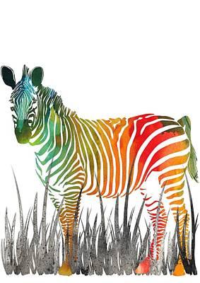 Colorful Zebra Art 10 - By Diana Van Art Print by Diana Van