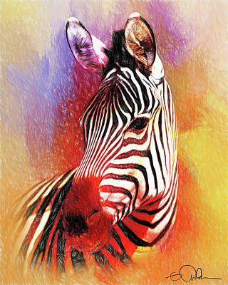 Digital Art - Colorful Zebra by Gloria Anderson