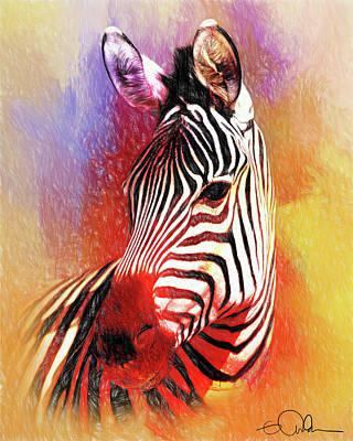 Digital Art - Colorful Zebra by Gloria Anderson