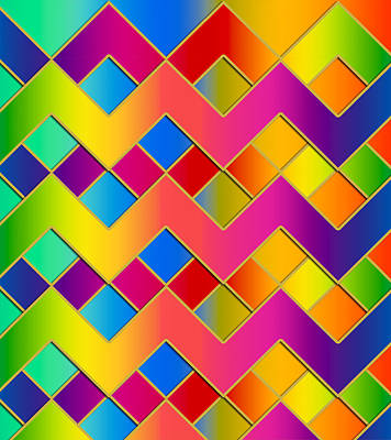 Digital Art - Colorful Zig-zag by Chuck Staley