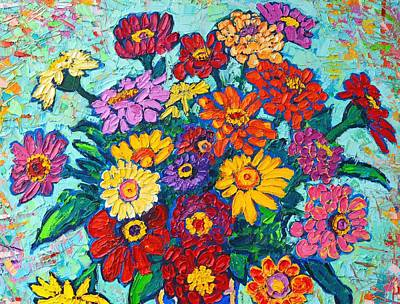 Vivid Colour Painting - Colorful Zinnias Bouquet Closeup  by Ana Maria Edulescu