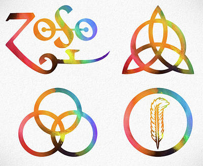 Jimmy Page Mixed Media - Colorful Zoso Symbols by Dan Sproul