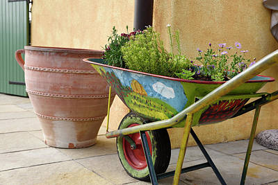 Photograph - Colorfully Painted Wheelbarrow With Flowers On Outdoor Courtyard by Reimar Gaertner
