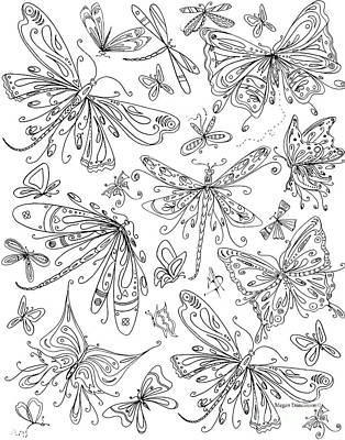 Coloring Page For Adults Butterflies And Dragonflies By Madart Art Print